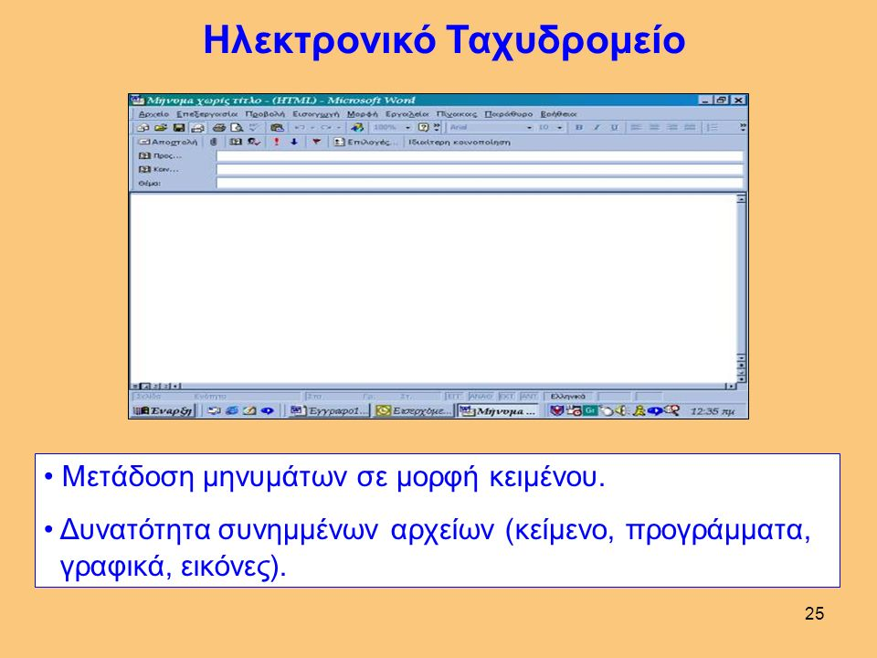 25 Ηλεκτρονικό Ταχυδρομείο Μετάδοση μηνυμάτων σε μορφή κειμένου.