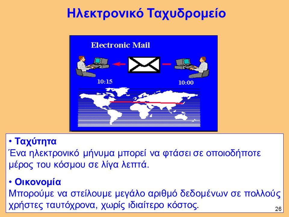 Ταχύτητα Ένα ηλεκτρονικό μήνυμα μπορεί να φτάσει σε οποιοδήποτε μέρος του κόσμου σε λίγα λεπτά.