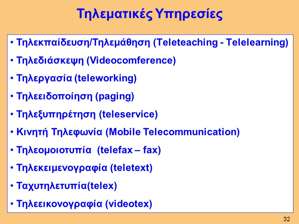 Τηλεματικές Υπηρεσίες Τηλεκπαίδευση/Τηλεμάθηση (Τeleteaching - Τelelearning) Τηλεδιάσκεψη (Videocomference) Τηλεργασία (teleworking) Τηλεειδοποίηση (paging) Τηλεξυπηρέτηση (teleservice) Κινητή Τηλεφωνία (Mobile Telecommunication) Τηλεομοιοτυπία (telefax – fax) Τηλεκειμενογραφία (teletext) Ταχυτηλετυπία(telex) Τηλεεικονογραφία (videotex) 32