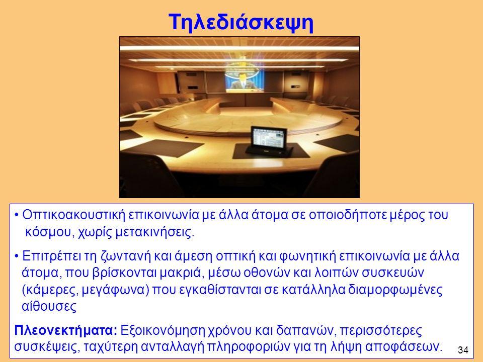 Τηλεδιάσκεψη Οπτικοακουστική επικοινωνία με άλλα άτομα σε οποιοδήποτε μέρος του κόσμου, χωρίς μετακινήσεις.