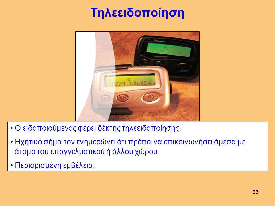 36 Τηλεειδοποίηση Ο ειδοποιούμενος φέρει δέκτης τηλεειδοποίησης.