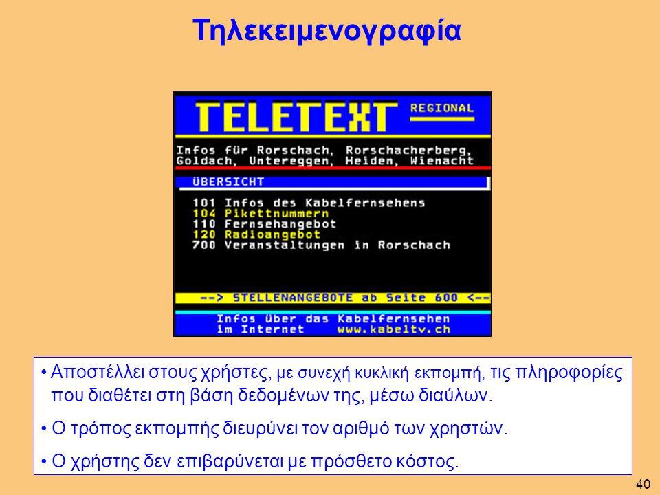 Τηλεκειμενογραφία Αποστέλλει στους χρήστες, με συνεχή κυκλική εκπομπή, τις πληροφορίες που διαθέτει στη βάση δεδομένων της, μέσω διαύλων.
