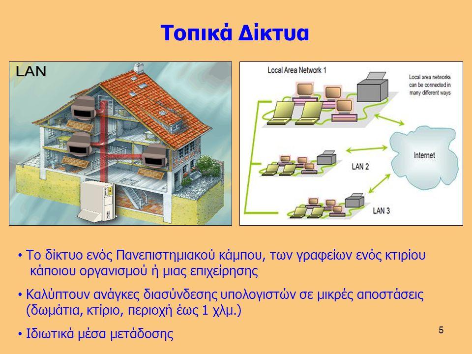 5 Το δίκτυο ενός Πανεπιστημιακού κάμπου, των γραφείων ενός κτιρίου κάποιου οργανισμού ή μιας επιχείρησης Καλύπτουν ανάγκες διασύνδεσης υπολογιστών σε μικρές αποστάσεις (δωμάτια, κτίριο, περιοχή έως 1 χλμ.) Ιδιωτικά μέσα μετάδοσης Τοπικά Δίκτυα