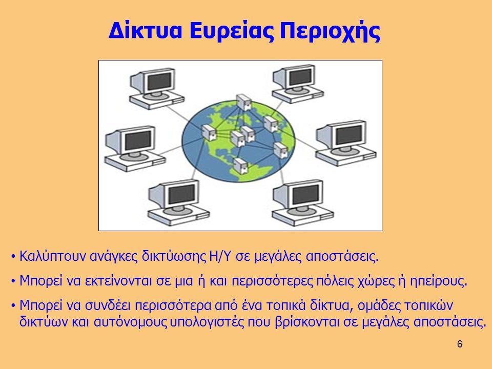 6 Δίκτυα Ευρείας Περιοχής Καλύπτουν ανάγκες δικτύωσης Η/Υ σε μεγάλες αποστάσεις.