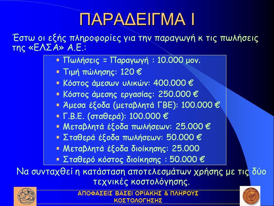 ΑΠΟΦΑΣΕΙΣ ΒΑΣΕΙ ΟΡΙΑΚΗΣ & ΠΛΗΡΟΥΣ ΚΟΣΤΟΛΟΓΗΣΗΣ Έστω οι εξής πληροφορίες για την παραγωγή κ τις πωλήσεις της «ΕΛΣΑ» Α.Ε.:  Πωλήσεις = Παραγωγή : 10.000 μον.
