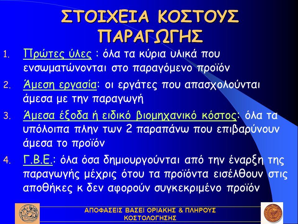 ΑΠΟΦΑΣΕΙΣ ΒΑΣΕΙ ΟΡΙΑΚΗΣ & ΠΛΗΡΟΥΣ ΚΟΣΤΟΛΟΓΗΣΗΣ ΣΤΟΙΧΕΙΑ ΣΥΝΟΛΙΚΟΥ ΚΟΣΤΟΥΣ 1.Πρώτες ύλες 2.Άμεσα έξοδα 3.Άμεση εργασία 4.Γενικά έξοδα i.Εργοστασίου (Γ.Β.Ε.) ii.Διοίκησης iii.Πωλήσεων & Διάθεσης iv.Χρηματοδότησης Άμεσο Μετατροπής Συνολικό