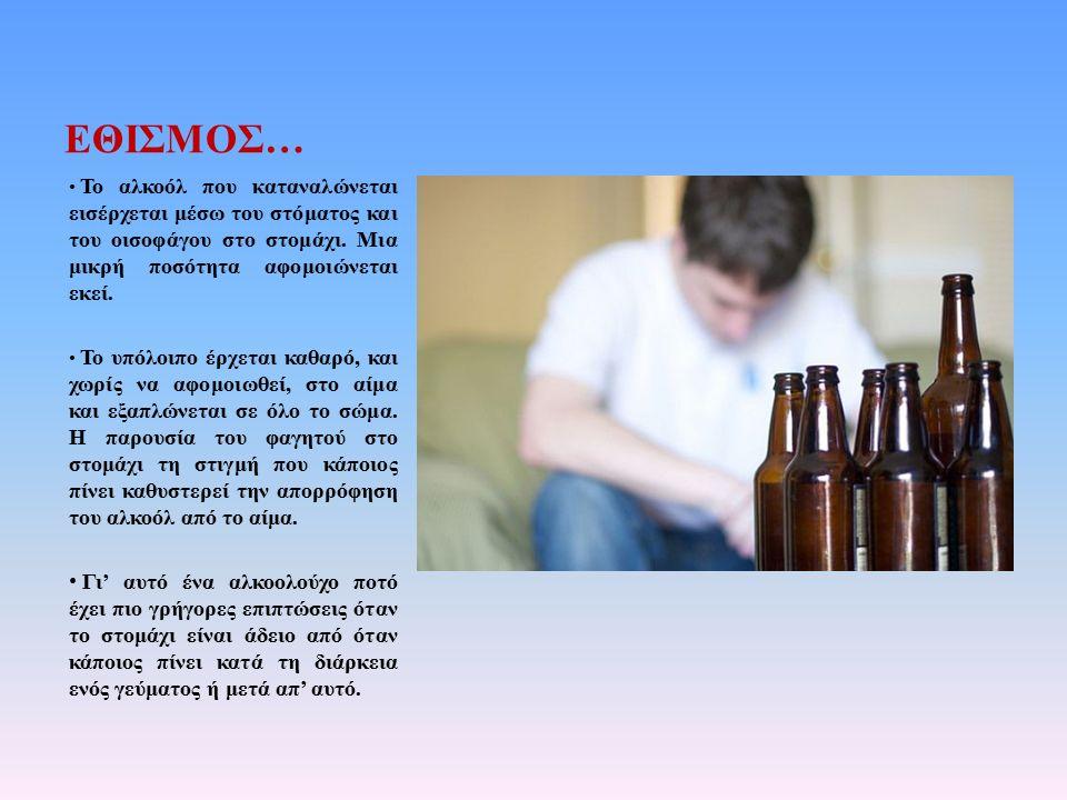 ΕΘΙΣΜΟΣ… Το αλκοόλ που καταναλώνεται εισέρχεται μέσω του στόματος και του οισοφάγου στο στομάχι. Μια μικρή ποσότητα αφομοιώνεται εκεί. Το υπόλοιπο έρχ