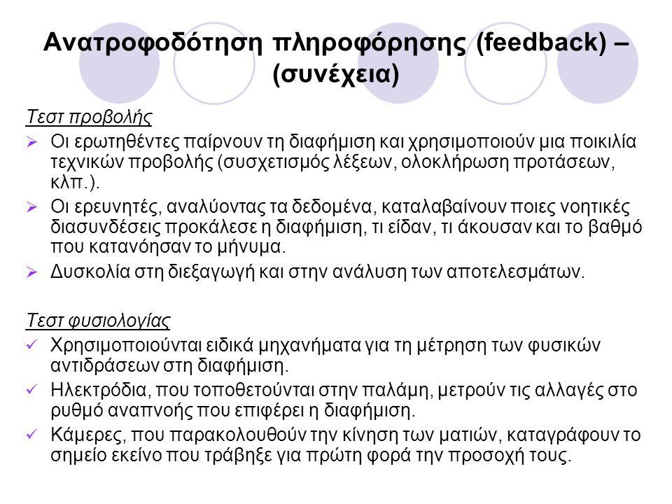 Ανατροφοδότηση πληροφόρησης (feedback) – (συνέχεια) Τεστ προβολής  Οι ερωτηθέντες παίρνουν τη διαφήμιση και χρησιμοποιούν μια ποικιλία τεχνικών προβολής (συσχετισμός λέξεων, ολοκλήρωση προτάσεων, κλπ.).