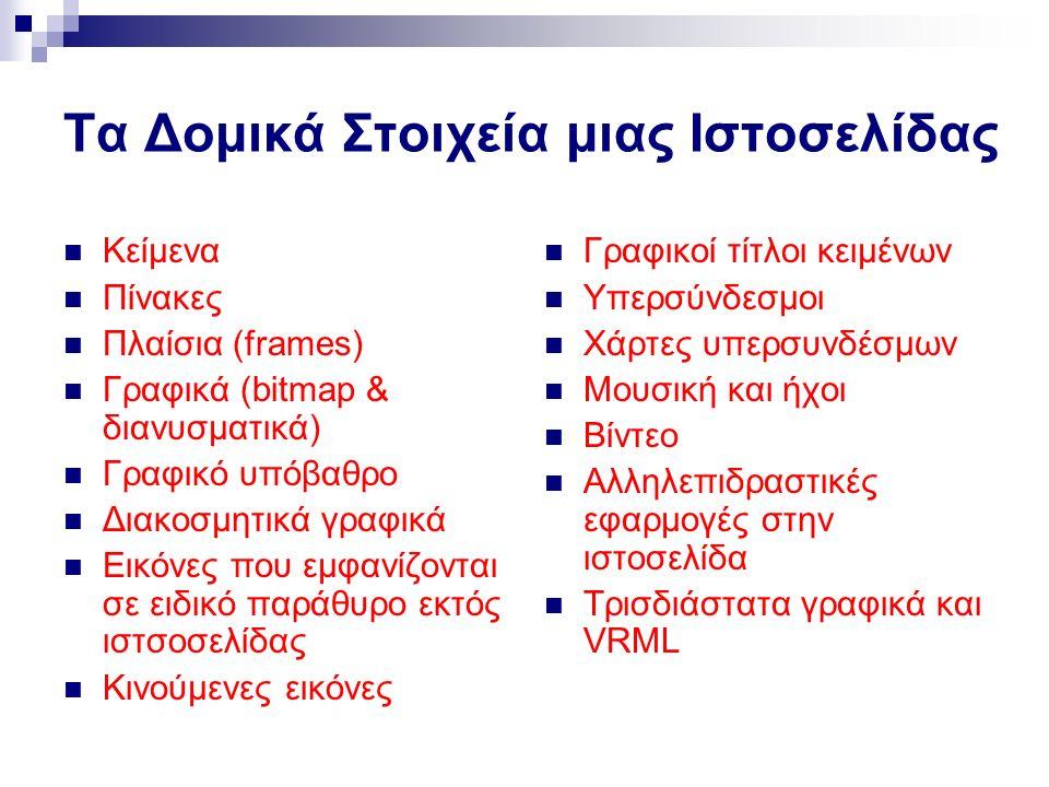 Τα Δομικά Στοιχεία μιας Ιστοσελίδας Κείμενα Πίνακες Πλαίσια (frames) Γραφικά (bitmap & διανυσματικά) Γραφικό υπόβαθρο Διακοσμητικά γραφικά Εικόνες που εμφανίζονται σε ειδικό παράθυρο εκτός ιστσοσελίδας Κινούμενες εικόνες Γραφικοί τίτλοι κειμένων Υπερσύνδεσμοι Χάρτες υπερσυνδέσμων Μουσική και ήχοι Βίντεο Αλληλεπιδραστικές εφαρμογές στην ιστοσελίδα Τρισδιάστατα γραφικά και VRML