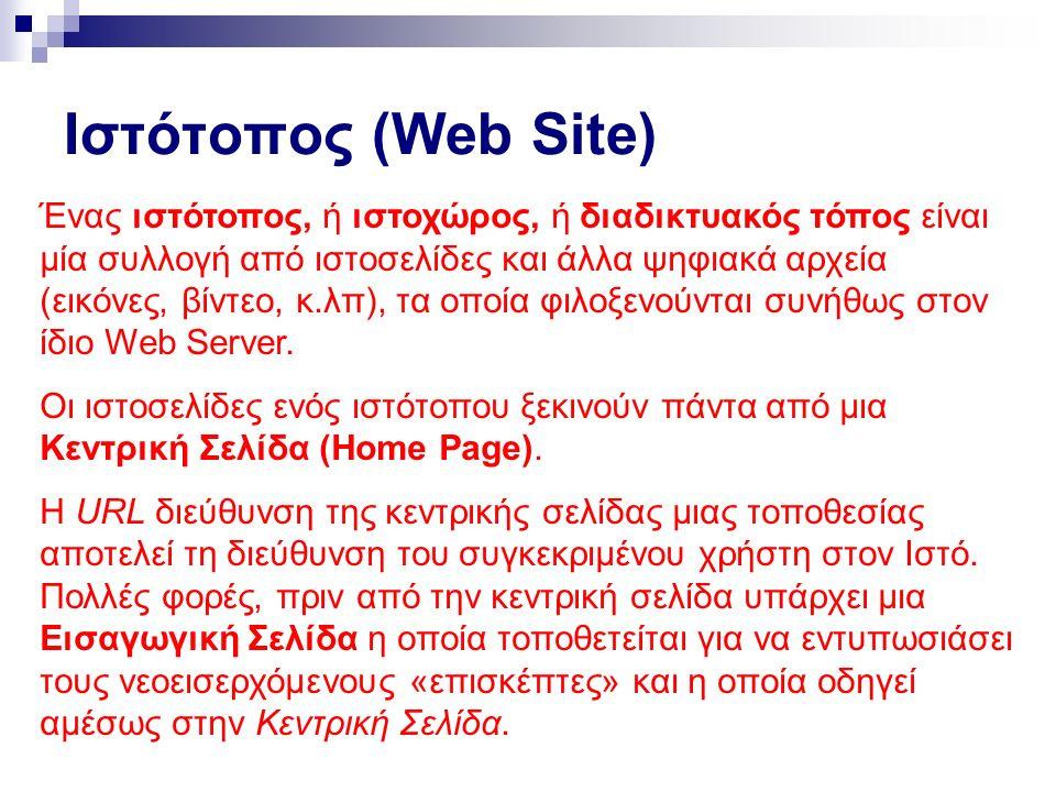 Ιστότοπος (Web Site) Ένας ιστότοπος, ή ιστοχώρος, ή διαδικτυακός τόπος είναι μία συλλογή από ιστοσελίδες και άλλα ψηφιακά αρχεία (εικόνες, βίντεο, κ.λπ), τα οποία φιλοξενούνται συνήθως στον ίδιο Web Server.