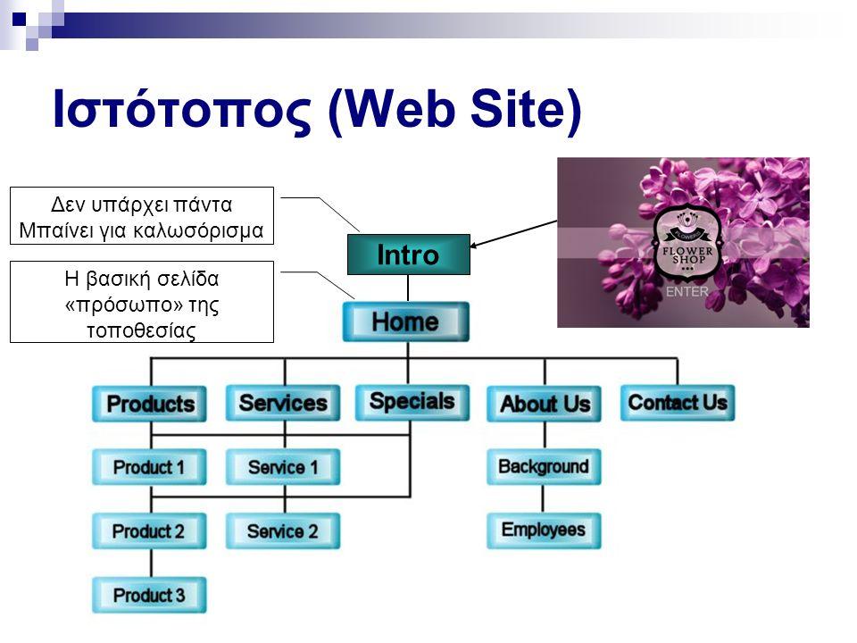 Ιστότοπος (Web Site) Intro Δεν υπάρχει πάντα Μπαίνει για καλωσόρισμα Η βασική σελίδα «πρόσωπο» της τοποθεσίας