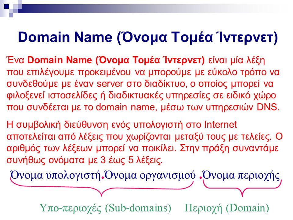 Domain Name (Όνομα Τομέα Ίντερνετ) Ένα Domain Name (Όνομα Τομέα Ίντερνετ) είναι μία λέξη που επιλέγουμε προκειμένου να μπορούμε με εύκολο τρόπο να συνδεθούμε με έναν server στο διαδίκτυο, ο οποίος μπορεί να φιλοξενεί ιστοσελίδες ή διαδικτυακές υπηρεσίες σε ειδικό χώρο που συνδέεται με το domain name, μέσω των υπηρεσιών DNS.