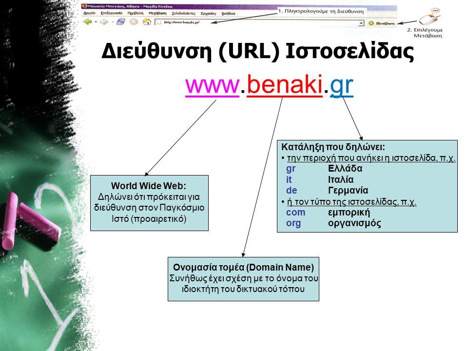 Διεύθυνση (URL) Ιστοσελίδας www.benaki.gr World Wide Web: Δηλώνει ότι πρόκειται για διεύθυνση στον Παγκόσμιο Ιστό (προαιρετικό) Ονομασία τομέα (Domain Name) Συνήθως έχει σχέση με το όνομα του ιδιοκτήτη του δικτυακού τόπου Κατάληξη που δηλώνει: την περιοχή που ανήκει η ιστοσελίδα, π.χ.