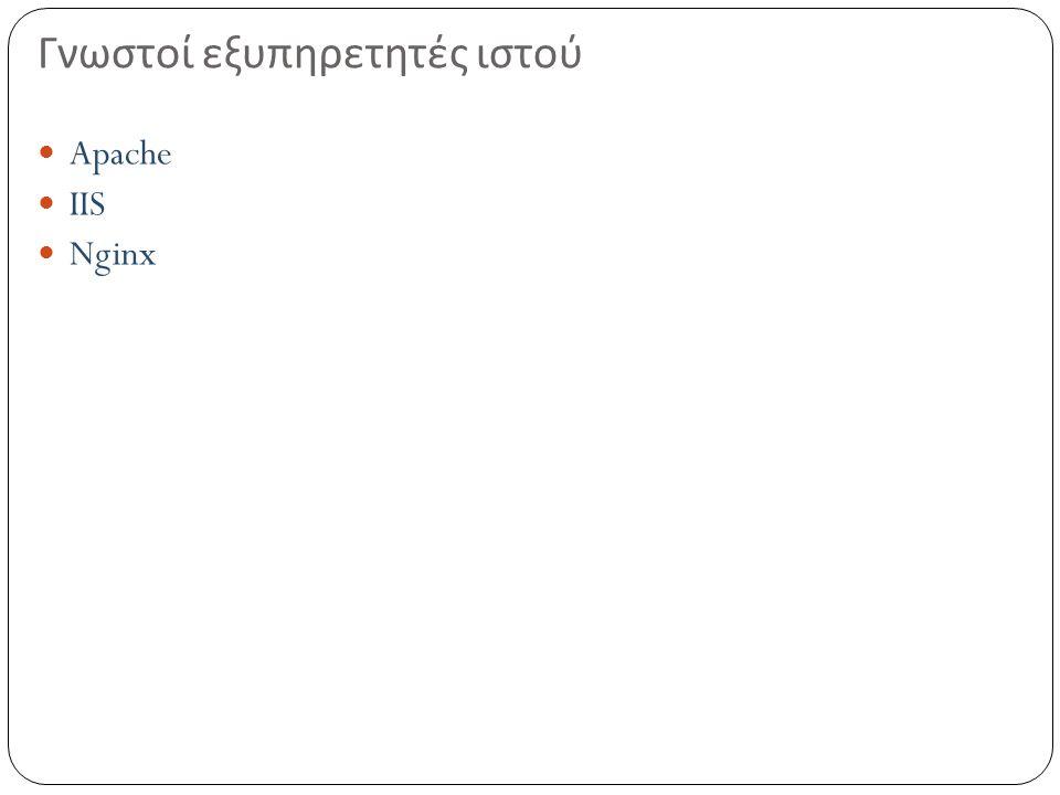 Γνωστοί εξυπηρετητές ιστού Apache IIS Nginx