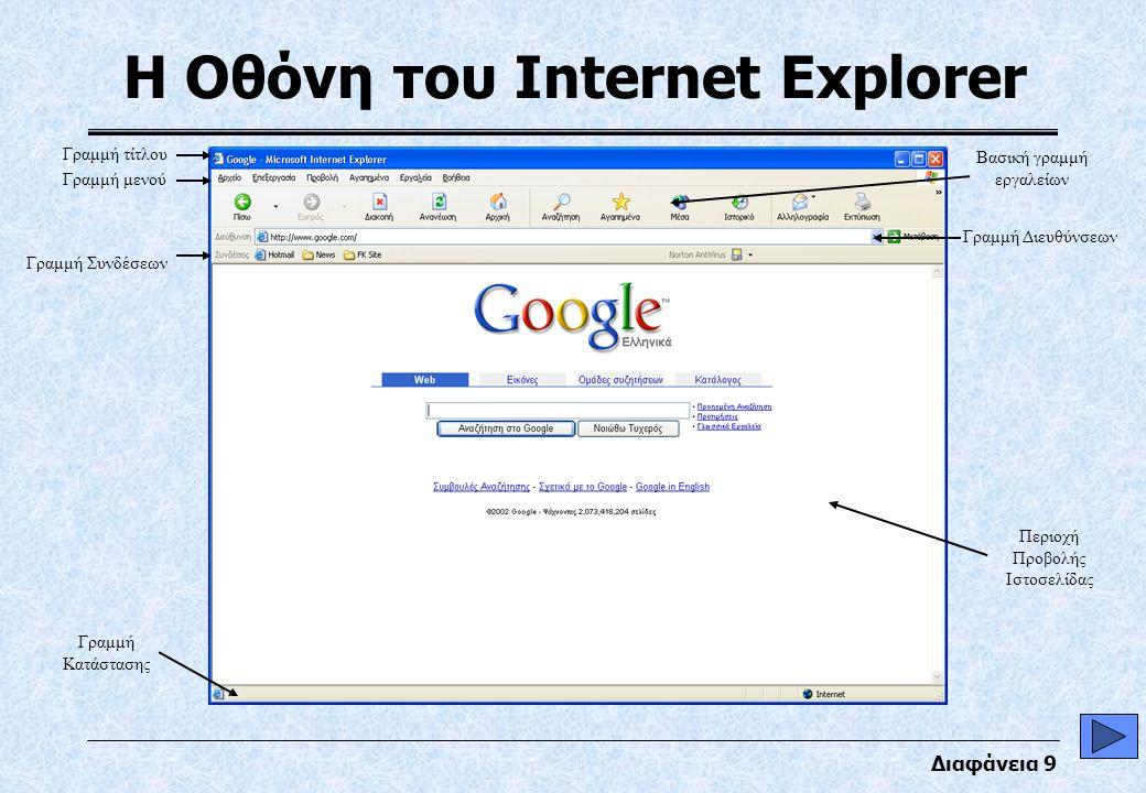 Διαφάνεια 9 Η Οθόνη του Internet Explorer Γραμμή Συνδέσεων Γραμμή Κατάστασης Γραμμή τίτλου Γραμμή μενού Βασική γραμμή εργαλείων Γραμμή Διευθύνσεων Περιοχή Προβολής Ιστοσελίδας