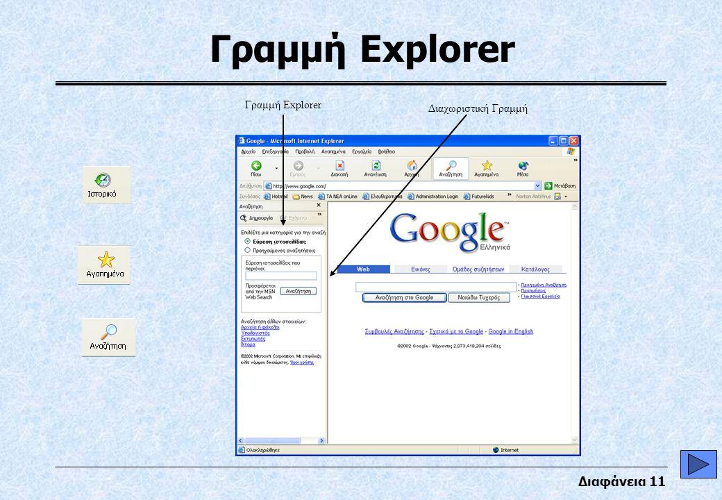 Διαφάνεια 11 Γραμμή Explorer Διαχωριστική Γραμμή