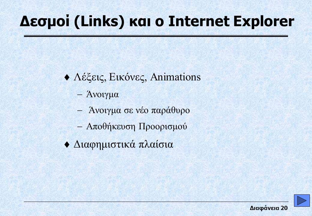 Διαφάνεια 20 Δεσμοί (Links) και ο Internet Explorer  Λέξεις, Εικόνες, Animations  Άνοιγμα  Άνοιγμα σε νέο παράθυρο  Αποθήκευση Προορισμού  Διαφημιστικά πλαίσια