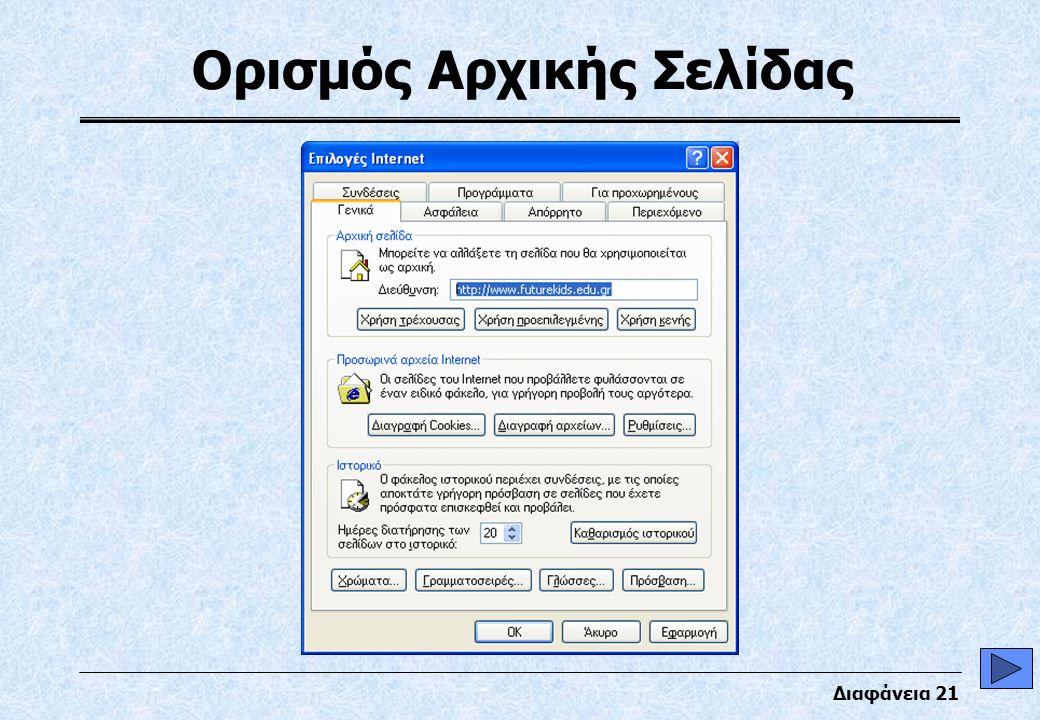 Διαφάνεια 21 Ορισμός Αρχικής Σελίδας