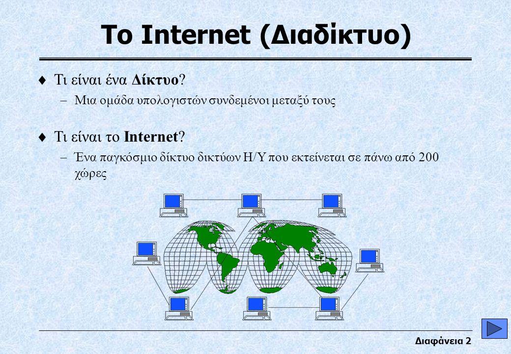 Διαφάνεια 3 Η βασική ιδέα του Δικτύου Πακέτα Πληροφοριών Κόμβος (σημείο σύνδεση δικτύου)