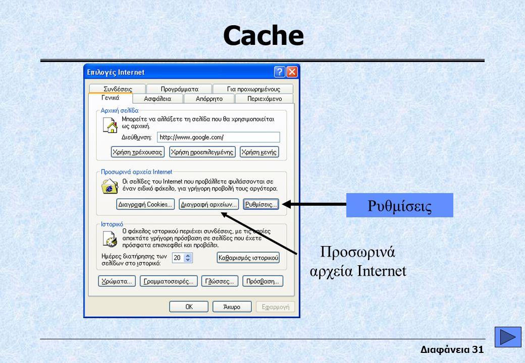 Διαφάνεια 31 Cache Προσωρινά αρχεία Internet Ρυθμίσεις