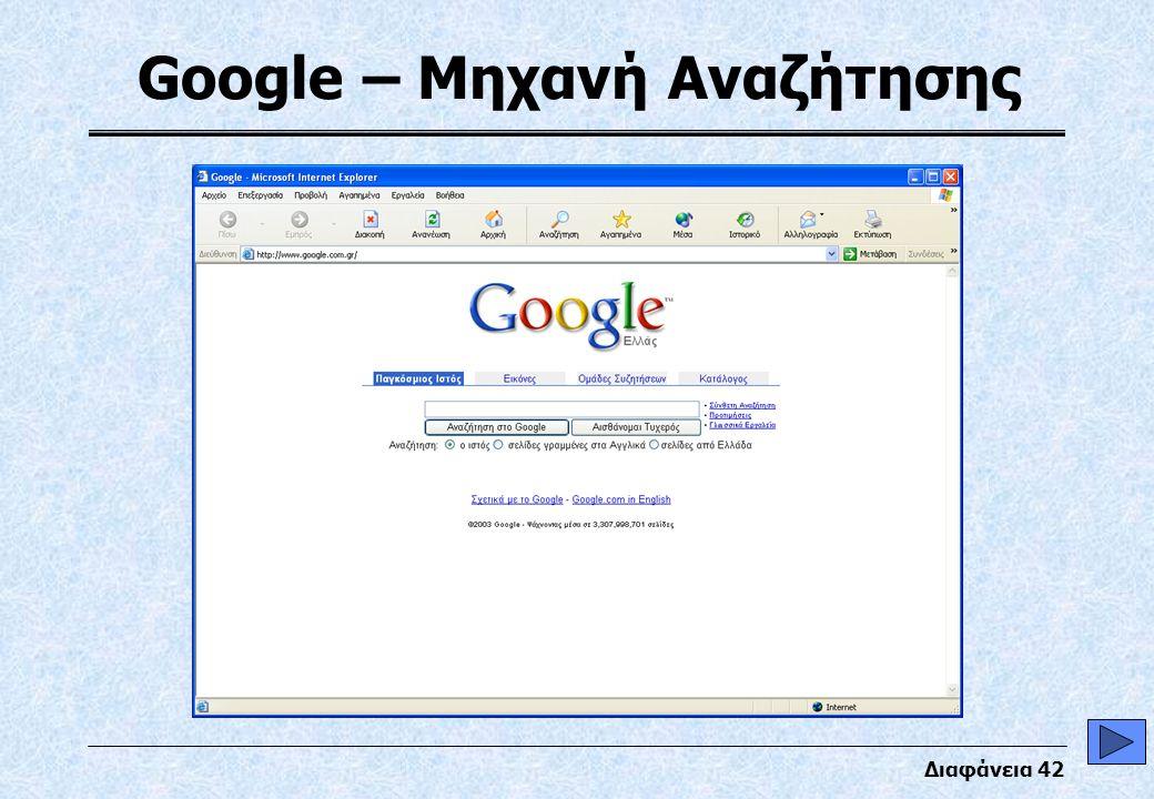 Διαφάνεια 42 Google – Μηχανή Αναζήτησης