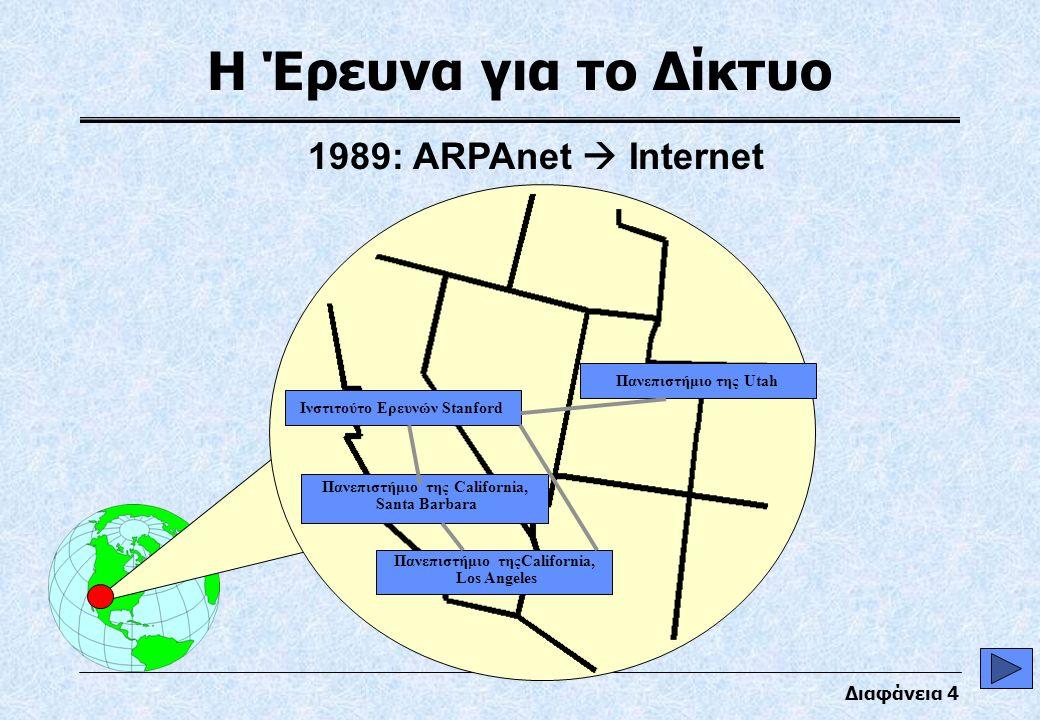 Διαφάνεια 4 Η Έρευνα για το Δίκτυο Πανεπιστήμιο τηςCalifornia, Los Angeles Πανεπιστήμιο της California, Santa Barbara Ινστιτούτο Ερευνών Stanford Πανεπιστήμιο της Utah Advanced Research Project Agency (ARPAnet) 1989: ARPAnet  Internet