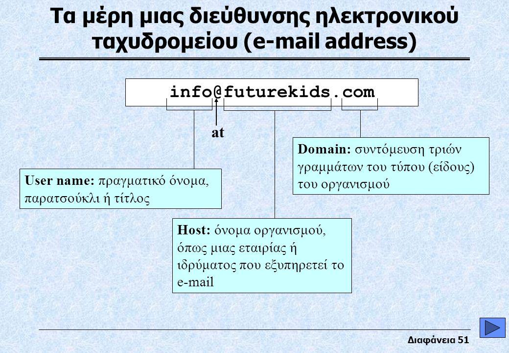 Διαφάνεια 51 Τα μέρη μιας διεύθυνσης ηλεκτρονικού ταχυδρομείου (e-mail address) info@futurekids.com User name: πραγματικό όνομα, παρατσούκλι ή τίτλος Host: όνομα οργανισμού, όπως μιας εταιρίας ή ιδρύματος που εξυπηρετεί το e-mail Domain: συντόμευση τριών γραμμάτων του τύπου (είδους) του οργανισμού at