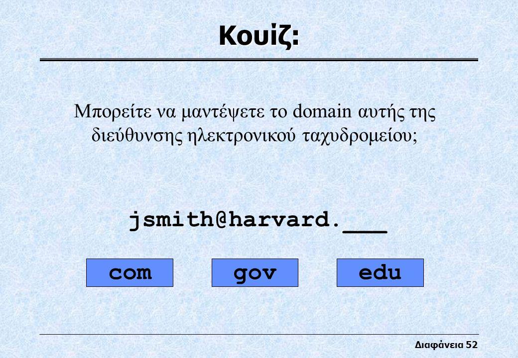 Διαφάνεια 52 Κουίζ: Μπορείτε να μαντέψετε το domain αυτής της διεύθυνσης ηλεκτρονικού ταχυδρομείου; jsmith@harvard.___ comgovedu