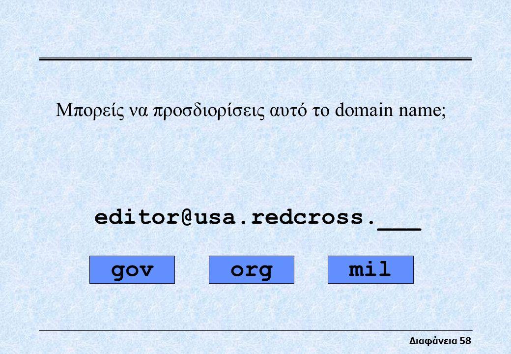 Διαφάνεια 58 Μπορείς να προσδιορίσεις αυτό το domain name; editor@usa.redcross.___ orgmilgov