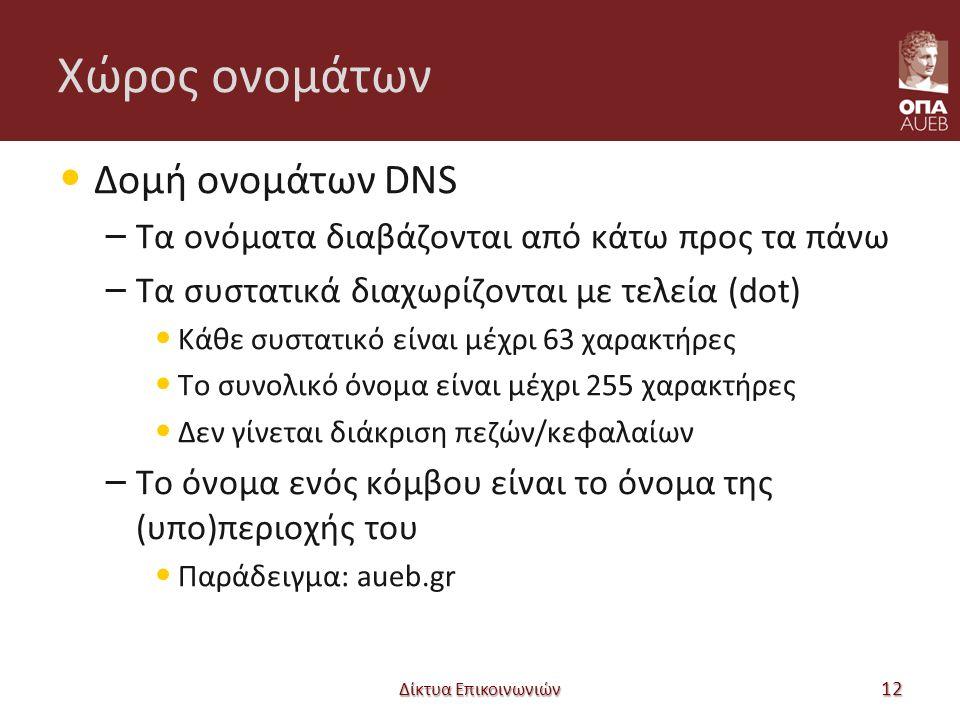 Χώρος ονομάτων Δομή ονομάτων DNS – Τα ονόματα διαβάζονται από κάτω προς τα πάνω – Τα συστατικά διαχωρίζονται με τελεία (dot) Κάθε συστατικό είναι μέχρι 63 χαρακτήρες Το συνολικό όνομα είναι μέχρι 255 χαρακτήρες Δεν γίνεται διάκριση πεζών/κεφαλαίων – Το όνομα ενός κόμβου είναι το όνομα της (υπο)περιοχής του Παράδειγμα: aueb.gr Δίκτυα Επικοινωνιών 12