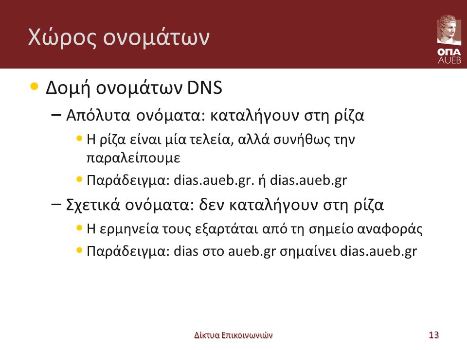 Χώρος ονομάτων Δομή ονομάτων DNS – Απόλυτα ονόματα: καταλήγουν στη ρίζα Η ρίζα είναι μία τελεία, αλλά συνήθως την παραλείπουμε Παράδειγμα: dias.aueb.gr.