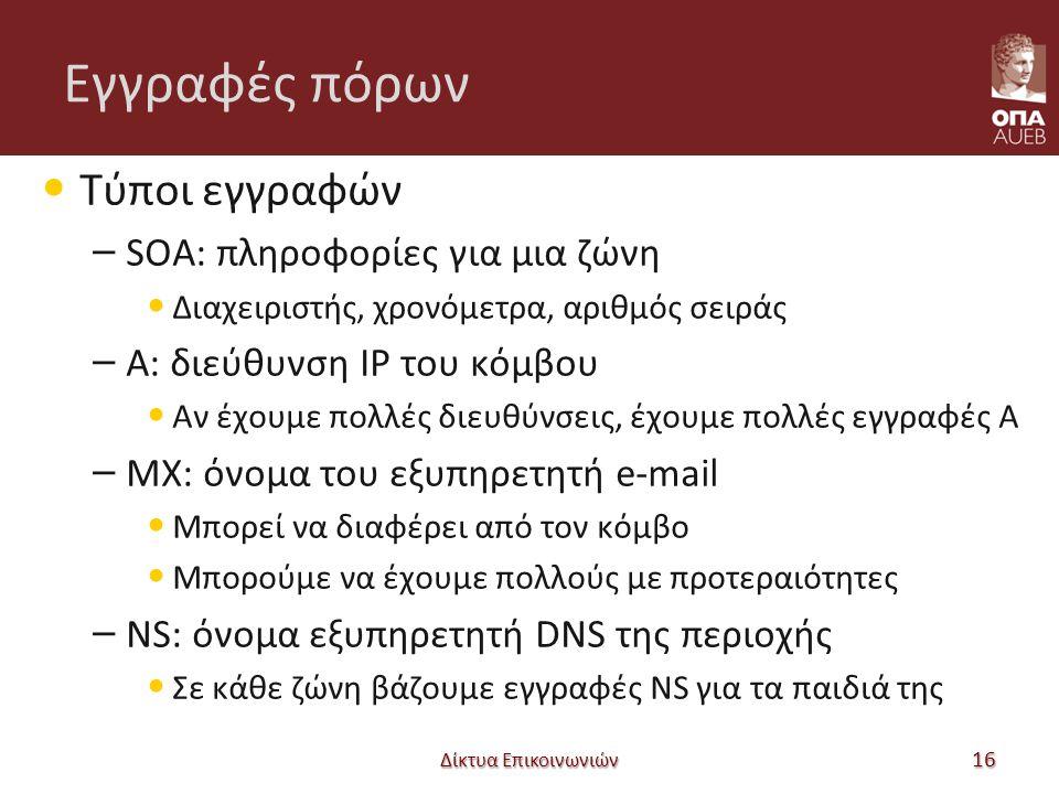 Εγγραφές πόρων Τύποι εγγραφών – SOA: πληροφορίες για μια ζώνη Διαχειριστής, χρονόμετρα, αριθμός σειράς – A: διεύθυνση IP του κόμβου Αν έχουμε πολλές διευθύνσεις, έχουμε πολλές εγγραφές A – MX: όνομα του εξυπηρετητή e-mail Μπορεί να διαφέρει από τον κόμβο Μπορούμε να έχουμε πολλούς με προτεραιότητες – NS: όνομα εξυπηρετητή DNS της περιοχής Σε κάθε ζώνη βάζουμε εγγραφές NS για τα παιδιά της Δίκτυα Επικοινωνιών 16