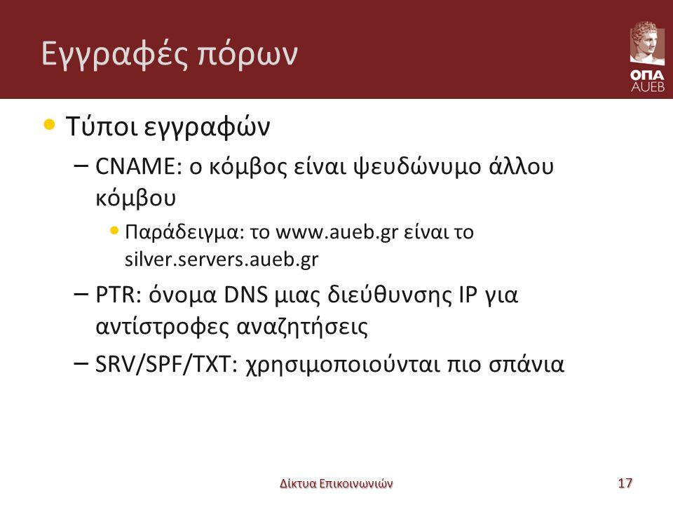 Εγγραφές πόρων Τύποι εγγραφών – CNAME: ο κόμβος είναι ψευδώνυμο άλλου κόμβου Παράδειγμα: το www.aueb.gr είναι το silver.servers.aueb.gr – PTR: όνομα DNS μιας διεύθυνσης IP για αντίστροφες αναζητήσεις – SRV/SPF/TXT: χρησιμοποιούνται πιο σπάνια Δίκτυα Επικοινωνιών 17