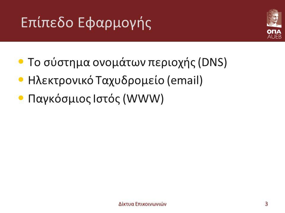 Επίπεδο Εφαρμογής Το σύστημα ονομάτων περιοχής (DNS) Ηλεκτρονικό Ταχυδρομείο (email) Παγκόσμιος Ιστός (WWW) Δίκτυα Επικοινωνιών 3