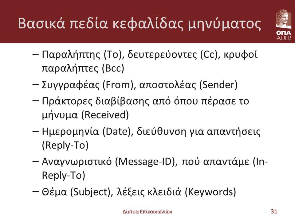 Βασικά πεδία κεφαλίδας μηνύματος – Παραλήπτης (To), δευτερεύοντες (Cc), κρυφοί παραλήπτες (Bcc) – Συγγραφέας (From), αποστολέας (Sender) – Πράκτορες διαβίβασης από όπου πέρασε το μήνυμα (Received) – Ημερομηνία (Date), διεύθυνση για απαντήσεις (Reply-To) – Αναγνωριστικό (Message-ID), πού απαντάμε (In- Reply-To) – Θέμα (Subject), λέξεις κλειδιά (Keywords) Δίκτυα Επικοινωνιών 31