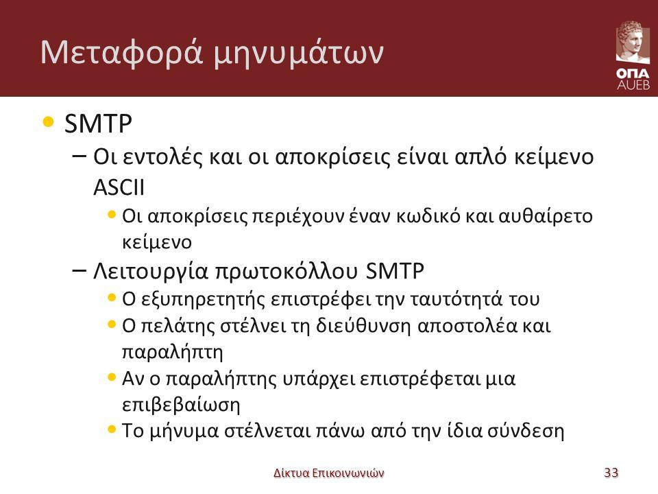 Μεταφορά μηνυμάτων SMTP – Οι εντολές και οι αποκρίσεις είναι απλό κείμενο ASCII Οι αποκρίσεις περιέχουν έναν κωδικό και αυθαίρετο κείμενο – Λειτουργία πρωτοκόλλου SMTP Ο εξυπηρετητής επιστρέφει την ταυτότητά του Ο πελάτης στέλνει τη διεύθυνση αποστολέα και παραλήπτη Αν ο παραλήπτης υπάρχει επιστρέφεται μια επιβεβαίωση Το μήνυμα στέλνεται πάνω από την ίδια σύνδεση Δίκτυα Επικοινωνιών 33