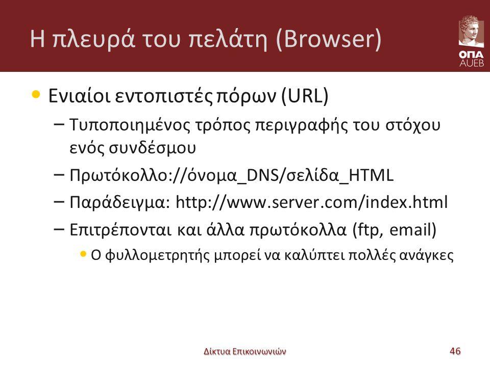 Η πλευρά του πελάτη (Browser) Ενιαίοι εντοπιστές πόρων (URL) – Τυποποιημένος τρόπος περιγραφής του στόχου ενός συνδέσμου – Πρωτόκολλο://όνομα_DNS/σελίδα_HTML – Παράδειγμα: http://www.server.com/index.html – Επιτρέπονται και άλλα πρωτόκολλα (ftp, email) Ο φυλλομετρητής μπορεί να καλύπτει πολλές ανάγκες Δίκτυα Επικοινωνιών 46