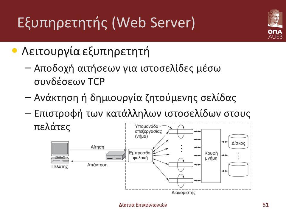 Εξυπηρετητής (Web Server) Λειτουργία εξυπηρετητή – Αποδοχή αιτήσεων για ιστοσελίδες μέσω συνδέσεων TCP – Ανάκτηση ή δημιουργία ζητούμενης σελίδας – Επιστροφή των κατάλληλων ιστοσελίδων στους πελάτες Δίκτυα Επικοινωνιών 51