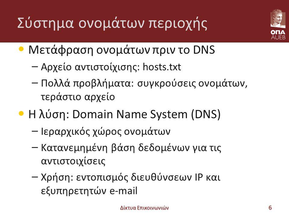 Σύστημα ονομάτων περιοχής Μετάφραση ονομάτων πριν το DNS – Αρχείο αντιστοίχισης: hosts.txt – Πολλά προβλήματα: συγκρούσεις ονομάτων, τεράστιο αρχείο Η λύση: Domain Name System (DNS) – Ιεραρχικός χώρος ονομάτων – Κατανεμημένη βάση δεδομένων για τις αντιστοιχίσεις – Χρήση: εντοπισμός διευθύνσεων IP και εξυπηρετητών e-mail Δίκτυα Επικοινωνιών 6