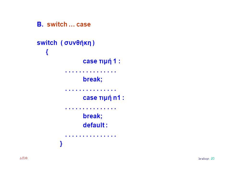 Δ.Π.Θ. JavaScrpt - 23 Β. switch … case switch ( συνθήκη ) { case τιμή 1 :...............