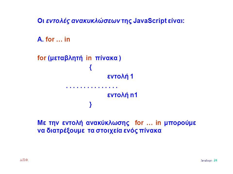 Δ.Π.Θ. JavaScrpt - 24 Οι εντολές ανακυκλώσεων της JavaScript είναι: Α.