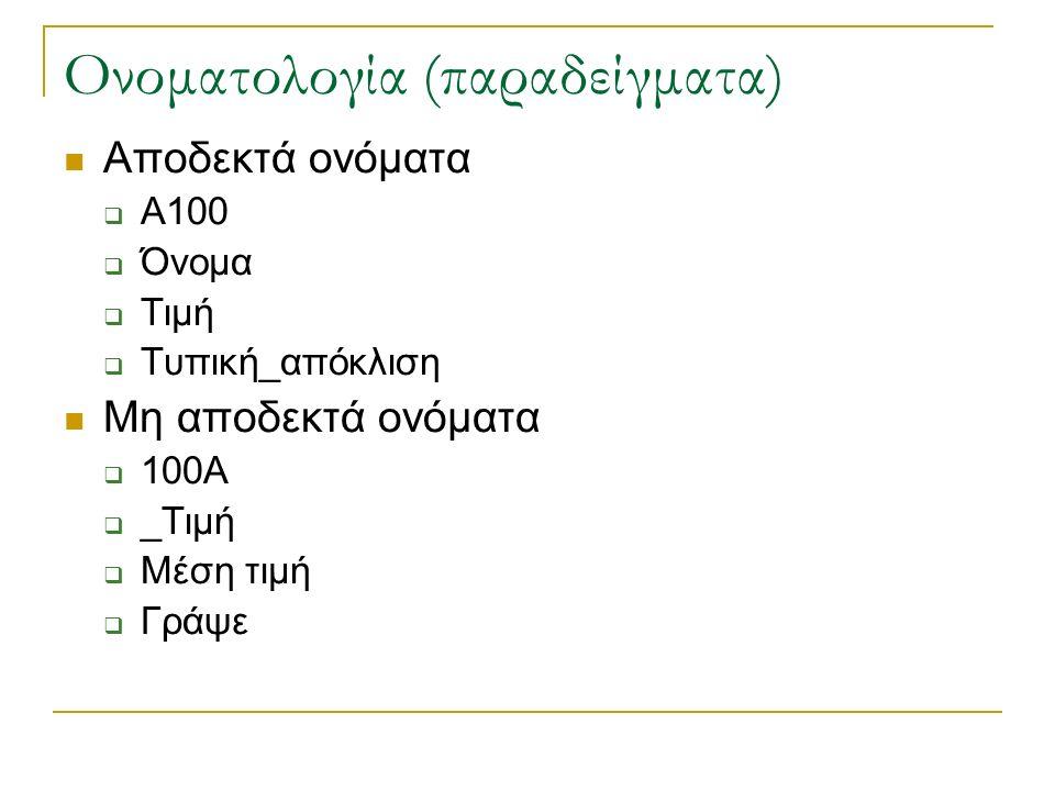 Ονοματολογία (παραδείγματα) Αποδεκτά ονόματα  Α100  Όνομα  Τιμή  Τυπική_απόκλιση Μη αποδεκτά ονόματα  100Α  _Τιμή  Μέση τιμή  Γράψε