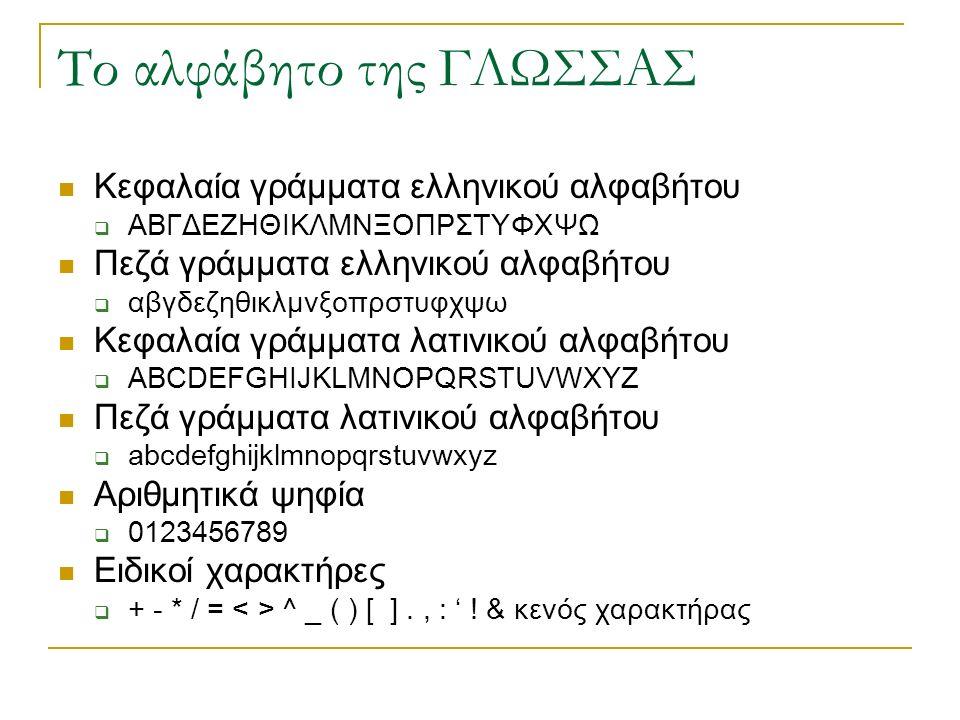 Το αλφάβητο της ΓΛΩΣΣΑΣ Κεφαλαία γράμματα ελληνικού αλφαβήτου ΑΑΒΓΔΕΖΗΘΙΚΛΜΝΞΟΠΡΣΤΥΦΧΨΩ Πεζά γράμματα ελληνικού αλφαβήτου ααβγδεζηθικλμνξοπρστυφχψω Κεφαλαία γράμματα λατινικού αλφαβήτου AABCDEFGHIJKLMNOPQRSTUVWXYZ Πεζά γράμματα λατινικού αλφαβήτου aabcdefghijklmnopqrstuvwxyz Αριθμητικά ψηφία 00123456789 Ειδικοί χαρακτήρες ++ - * / = < > ^ _ ( ) [ ]., : ' .