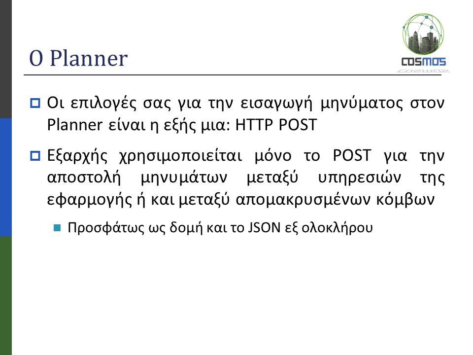Ο Planner  Οι επιλογές σας για την εισαγωγή μηνύματος στον Planner είναι η εξής μια: HTTP POST  Εξαρχής χρησιμοποιείται μόνο το POST για την αποστολή μηνυμάτων μεταξύ υπηρεσιών της εφαρμογής ή και μεταξύ απομακρυσμένων κόμβων Προσφάτως ως δομή και το JSON εξ ολοκλήρου
