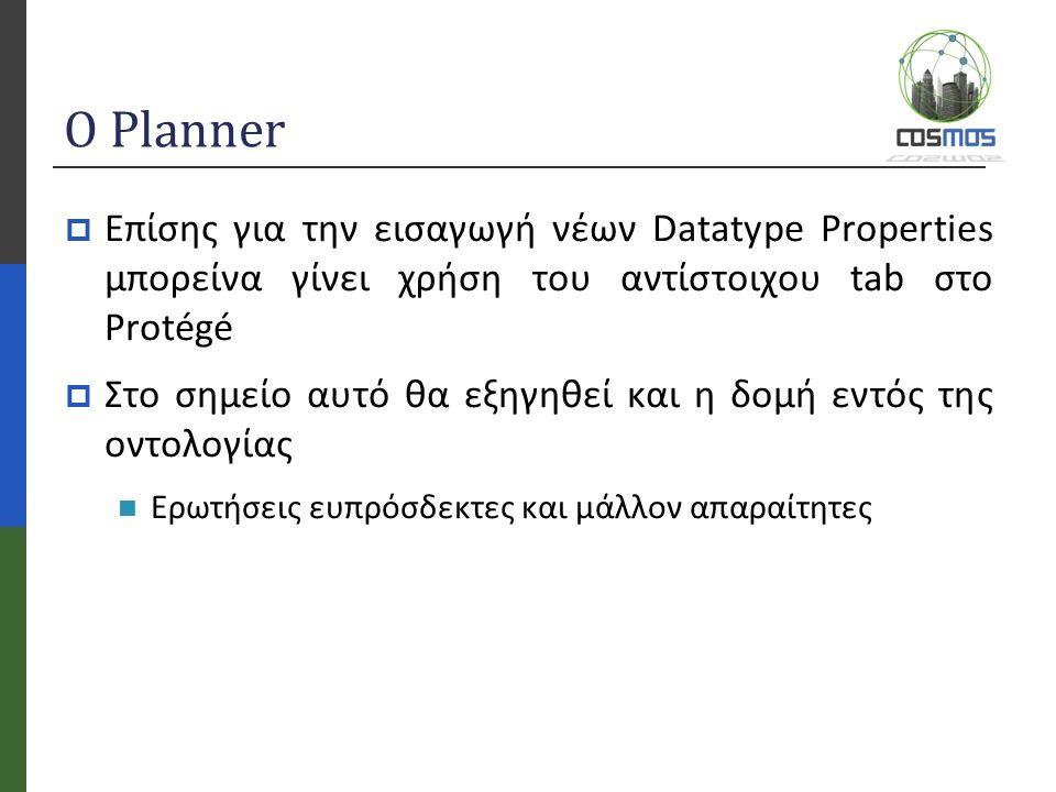 Ο Planner  Επίσης για την εισαγωγή νέων Datatype Properties μπορείνα γίνει χρήση του αντίστοιχου tab στο Protégé  Στο σημείο αυτό θα εξηγηθεί και η