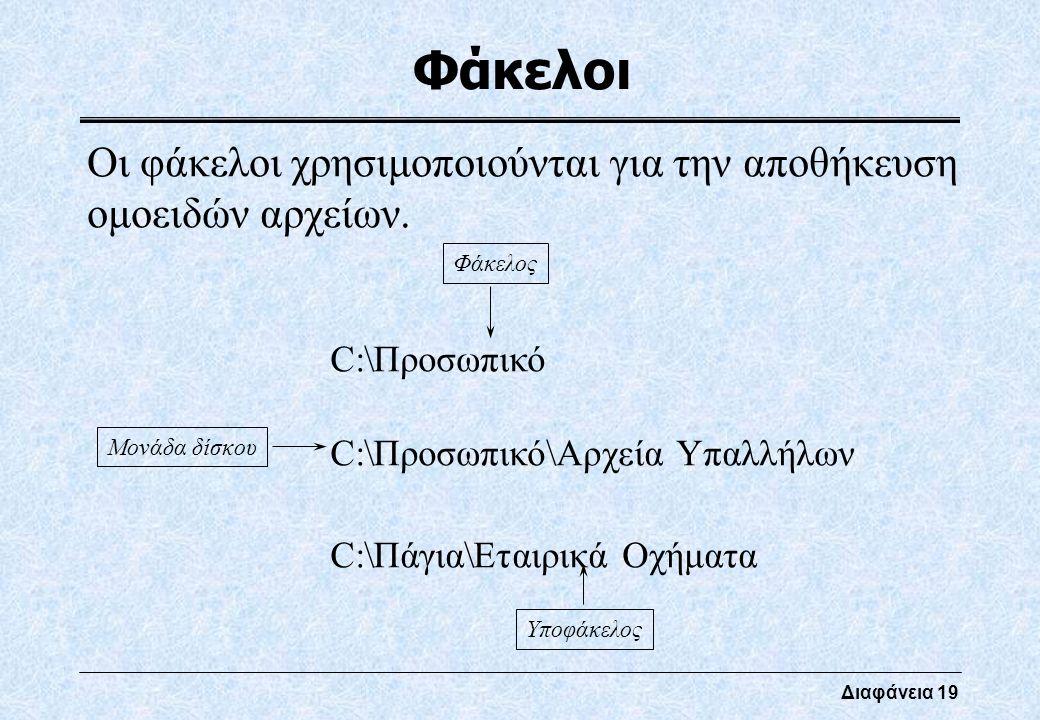 Διαφάνεια 19 Φάκελοι Οι φάκελοι χρησιμοποιούνται για την αποθήκευση ομοειδών αρχείων. C:\Προσωπικό C:\Προσωπικό\Αρχεία Υπαλλήλων C:\Πάγια\Εταιρικά Οχή