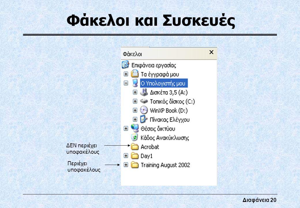 Διαφάνεια 20 Φάκελοι και Συσκευές Περιέχει υποφακέλους ΔΕΝ περιέχει υποφακέλους
