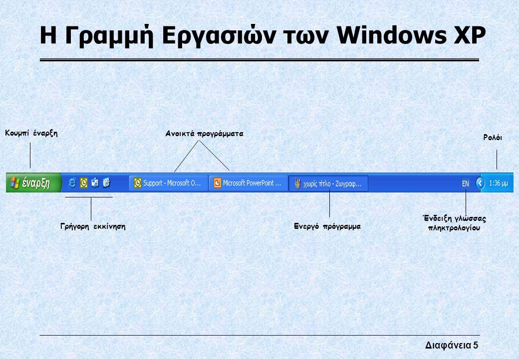 Διαφάνεια 5 Η Γραμμή Εργασιών των Windows XP Κουμπί έναρξη Γρήγορη εκκίνηση Ανοικτά προγράμματα Ενεργό πρόγραμμα Ρολόι Ένδειξη γλώσσας πληκτρολογίου
