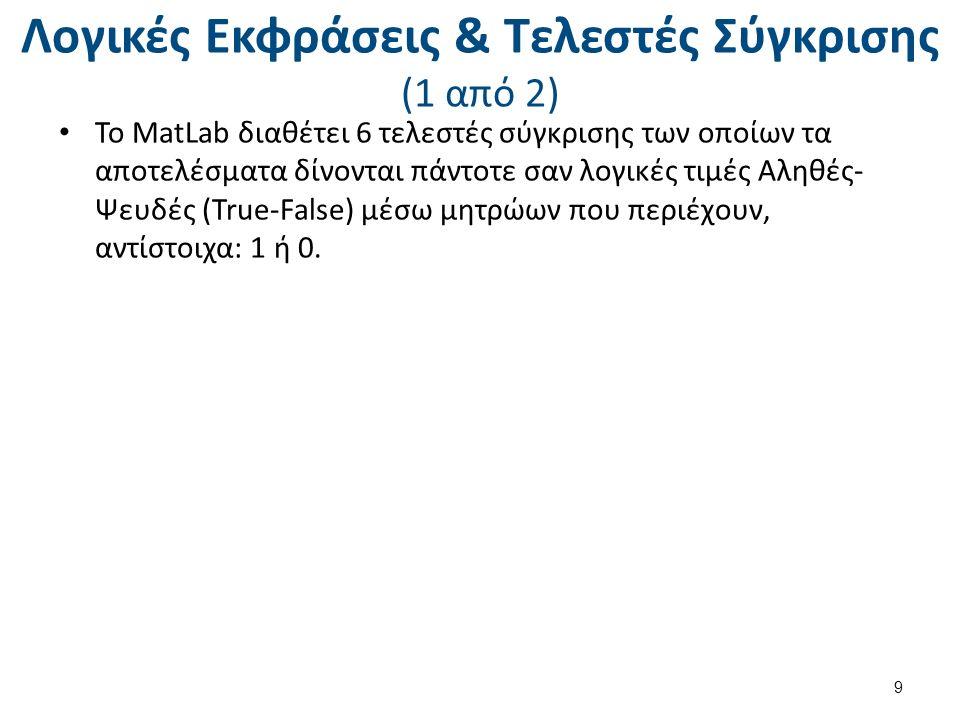 Λογικές Εκφράσεις & Τελεστές Σύγκρισης (1 από 2) Το MatLab διαθέτει 6 τελεστές σύγκρισης των οποίων τα αποτελέσματα δίνονται πάντοτε σαν λογικές τιμές