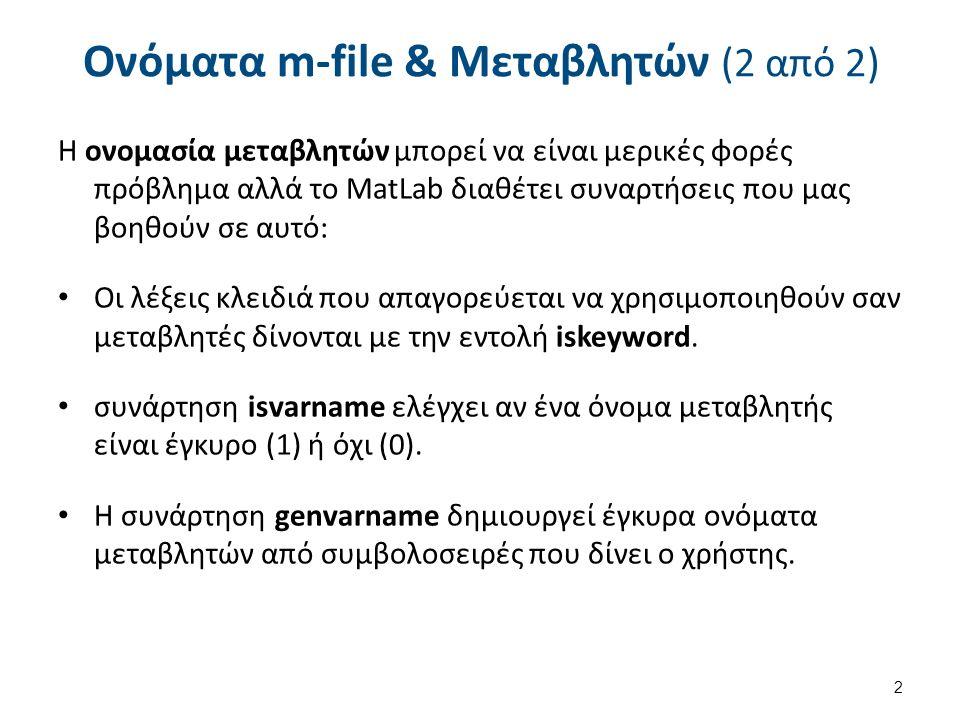 Ονόματα m-file & Μεταβλητών (2 από 2) Η ονομασία μεταβλητών μπορεί να είναι μερικές φορές πρόβλημα αλλά το MatLab διαθέτει συναρτήσεις που μας βοηθούν σε αυτό: Οι λέξεις κλειδιά που απαγορεύεται να χρησιμοποιηθούν σαν μεταβλητές δίνονται με την εντολή iskeyword.
